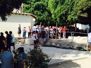 Syrian and Iraqi migrants outside Kos police station in Greece