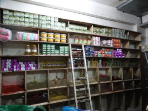 An image of shelves in the Maady Market in Aleppo City