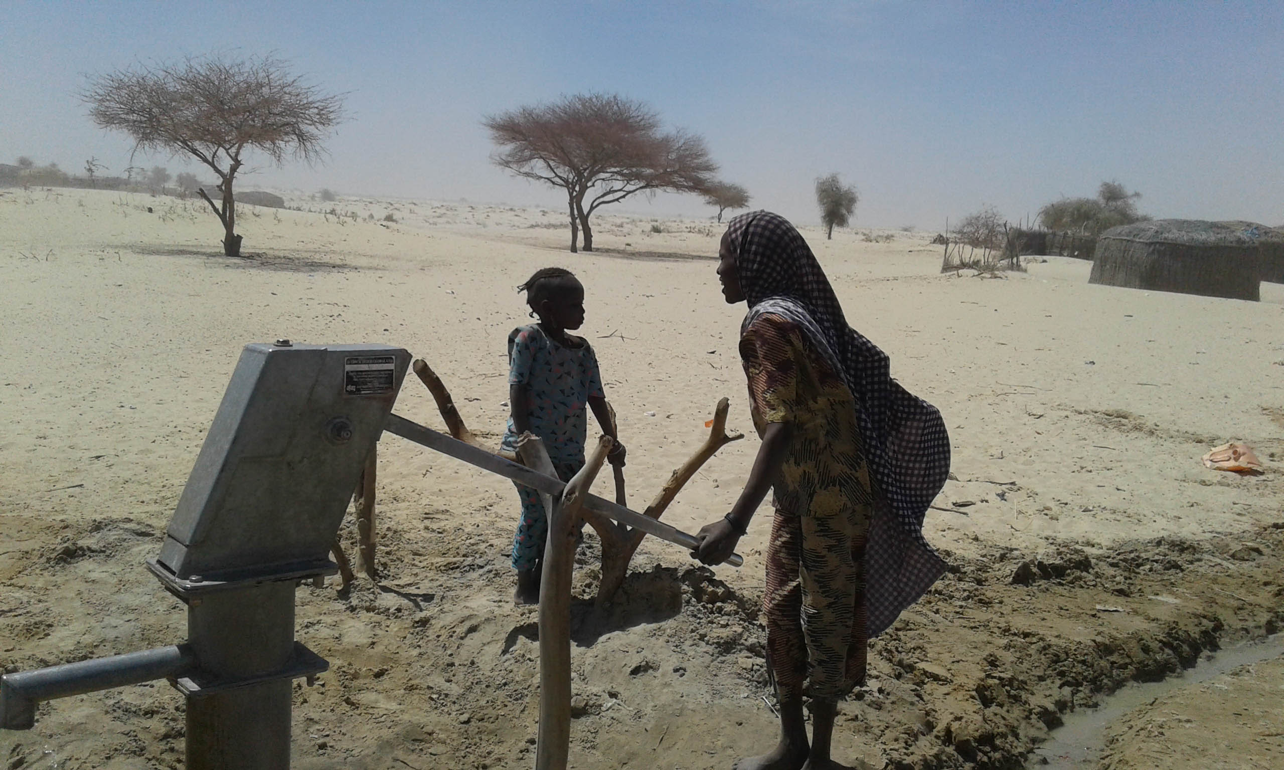 A woman pumps water out of a borehole in the Diffa Region ©IMPACT/2017