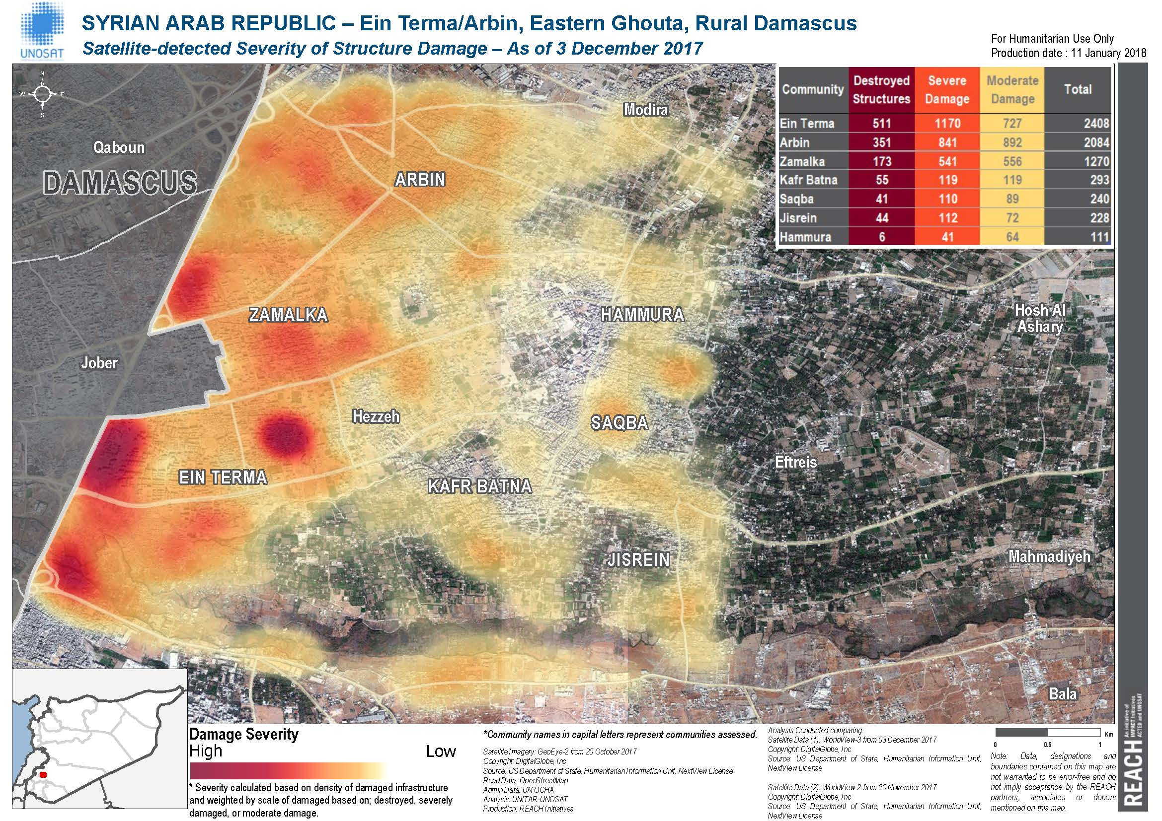 Analysis of damaged structures as of 3 December 2017 in the Ein Terma/Arbin area of Eastern Ghouta. ©REACH/2017
