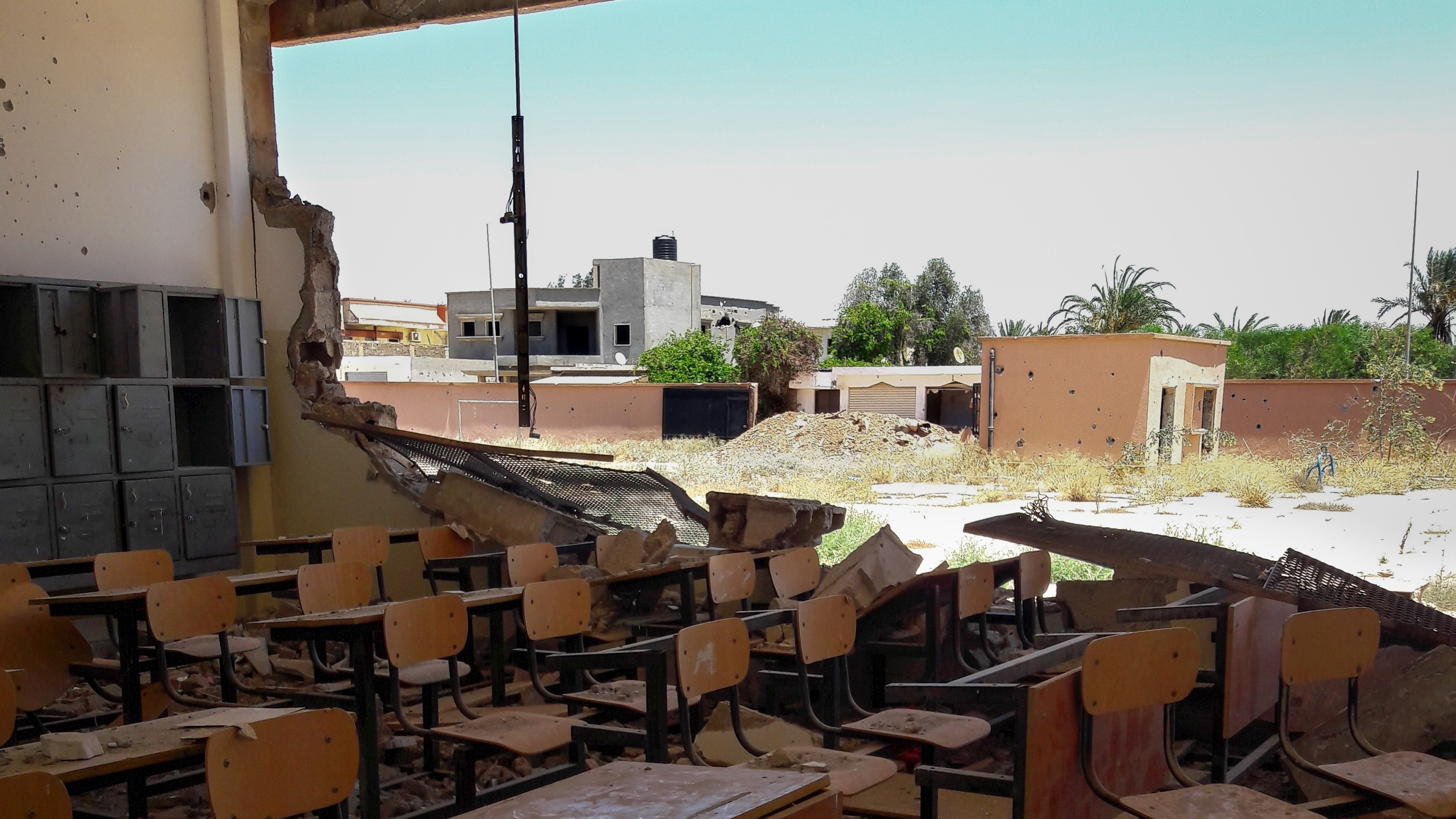 Destroyed school classroom in the Guwarsha neighbourhood of Benghazi, Eastern Libya. Credits: ACTED/Nada Elfeituri, June 2017