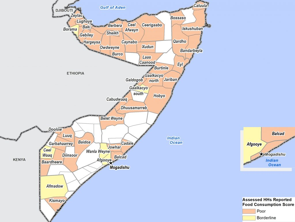 Average food consumption score in Somalia, by district ©REACH/2017