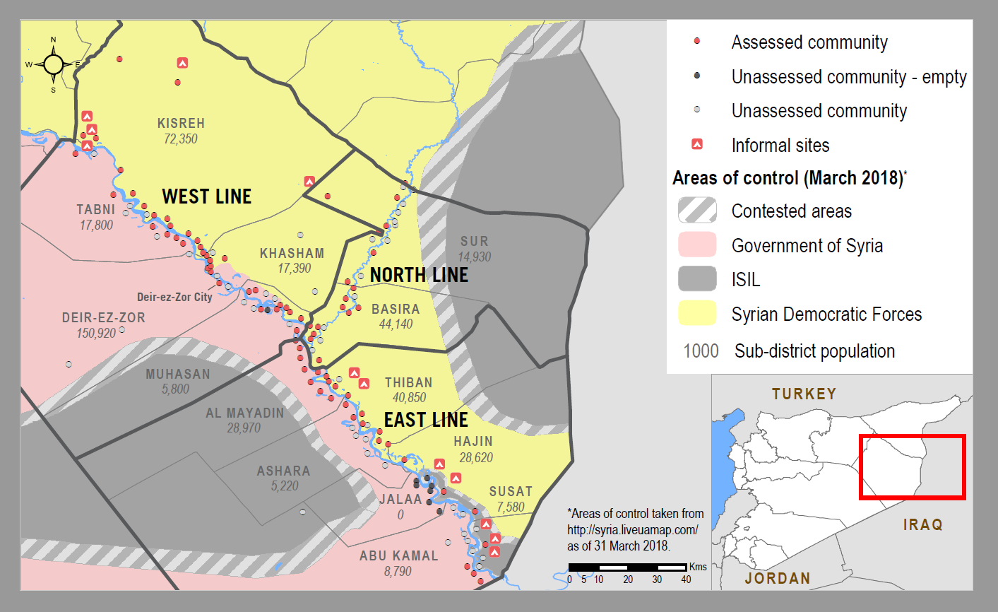 Deir-ez-Zor Assessment Coverage and Areas of Control ©REACH/2018