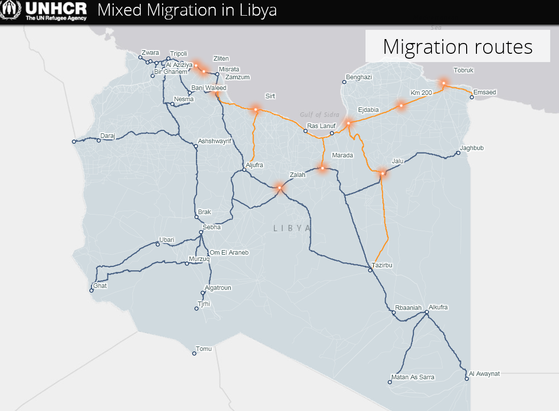 Emerging smuggling hubs in Libya ©REACH/2018