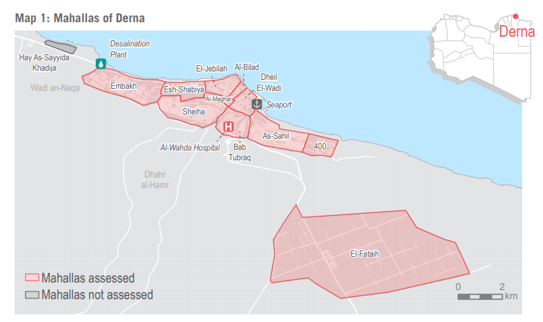 REACH assessed the humanitarian situation in 11 of the 12 mahallas of Derna city. According to OCHA, roughly 600-1,300 households had been displaced from outlying mahallas into central Derna city.