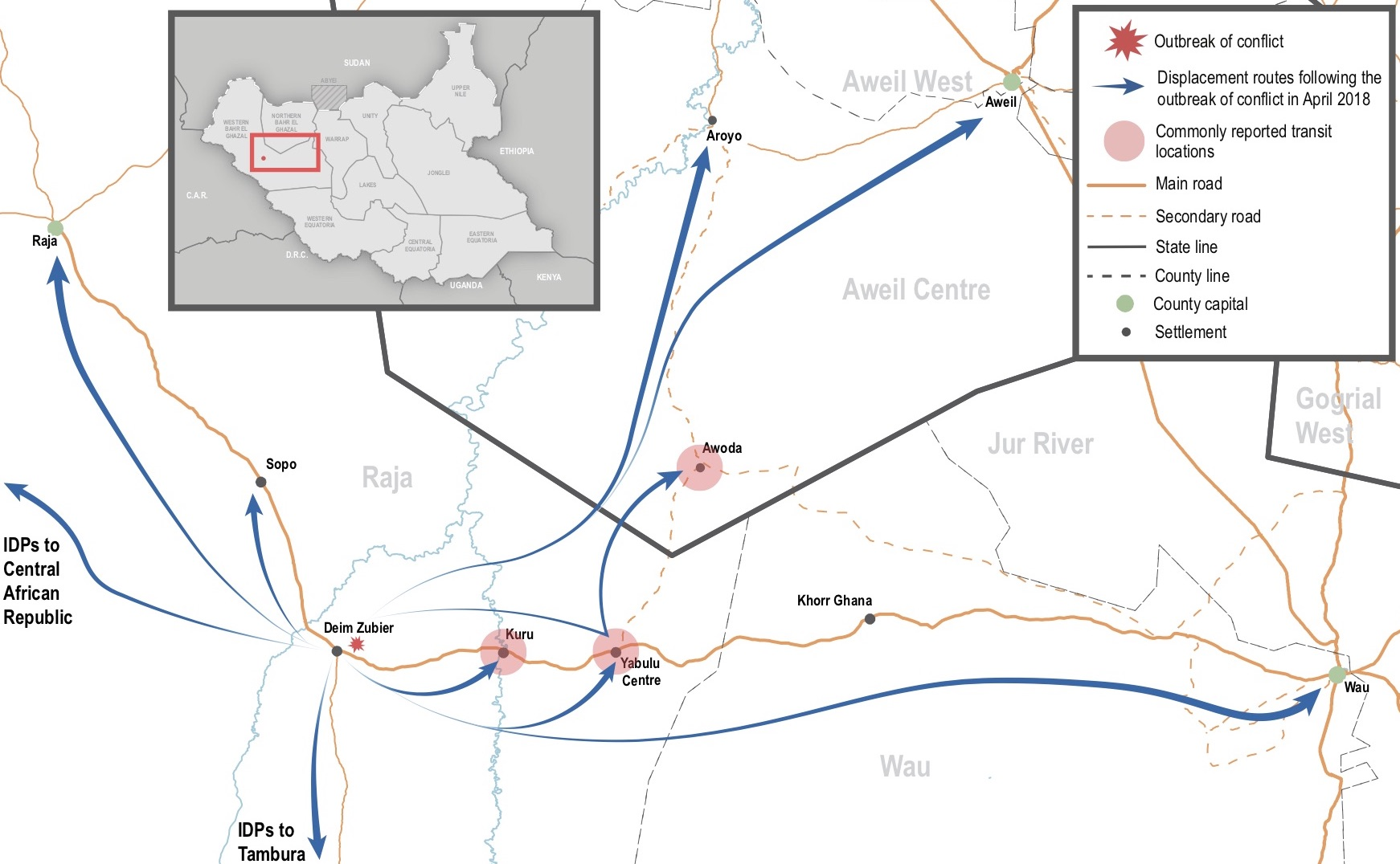 Displacement routes and destinations of IDPs fleeing conflict in Deim Zubier, Raja County, South Sudan. ©REACH/2018