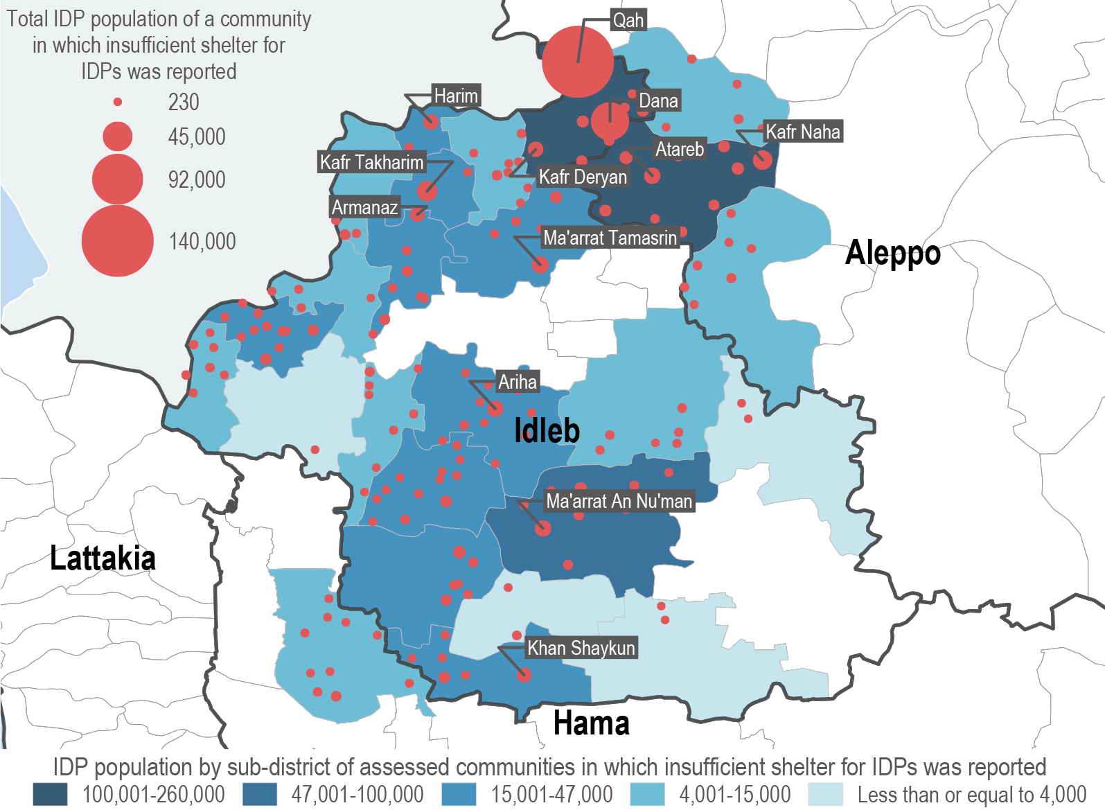 REACH found that almost 20 percent of the displaced people live in overcrowded or unsuitable shelters. The graph maps the location of communities where insufficient shelter was reported.