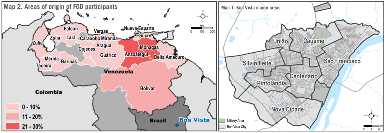 Area of origin of Venezuelan migrants and asylum seekers in Boa Vista and map of the assessed areas of Boa Vista.
