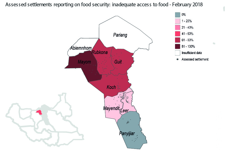 A graphic showing the proportion of assessed settlements reporting inadequate access to food in Unity State, South Sudan. ©REACH/2018