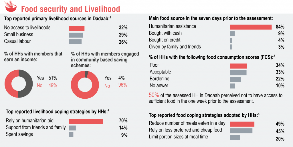 Needs assessment conducted in Dadaab revealed that half of the respondents lacked sufficient access to food and experienced constraints in making a living.