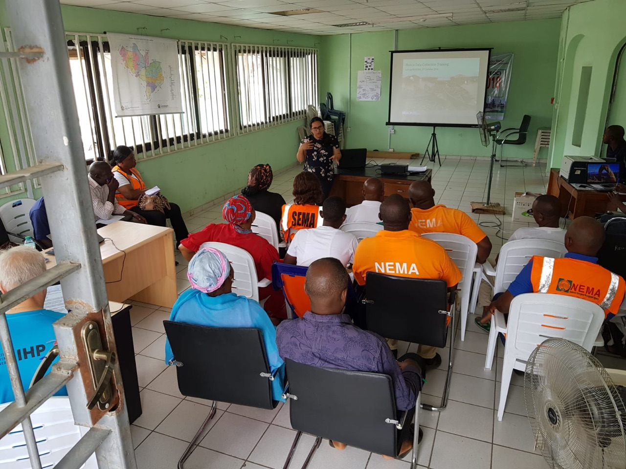 Senior Research Design Officer Nayana Das delivering a training at the emergency operation center of Kogi, Nigeria. ©UNDAC Team 2018