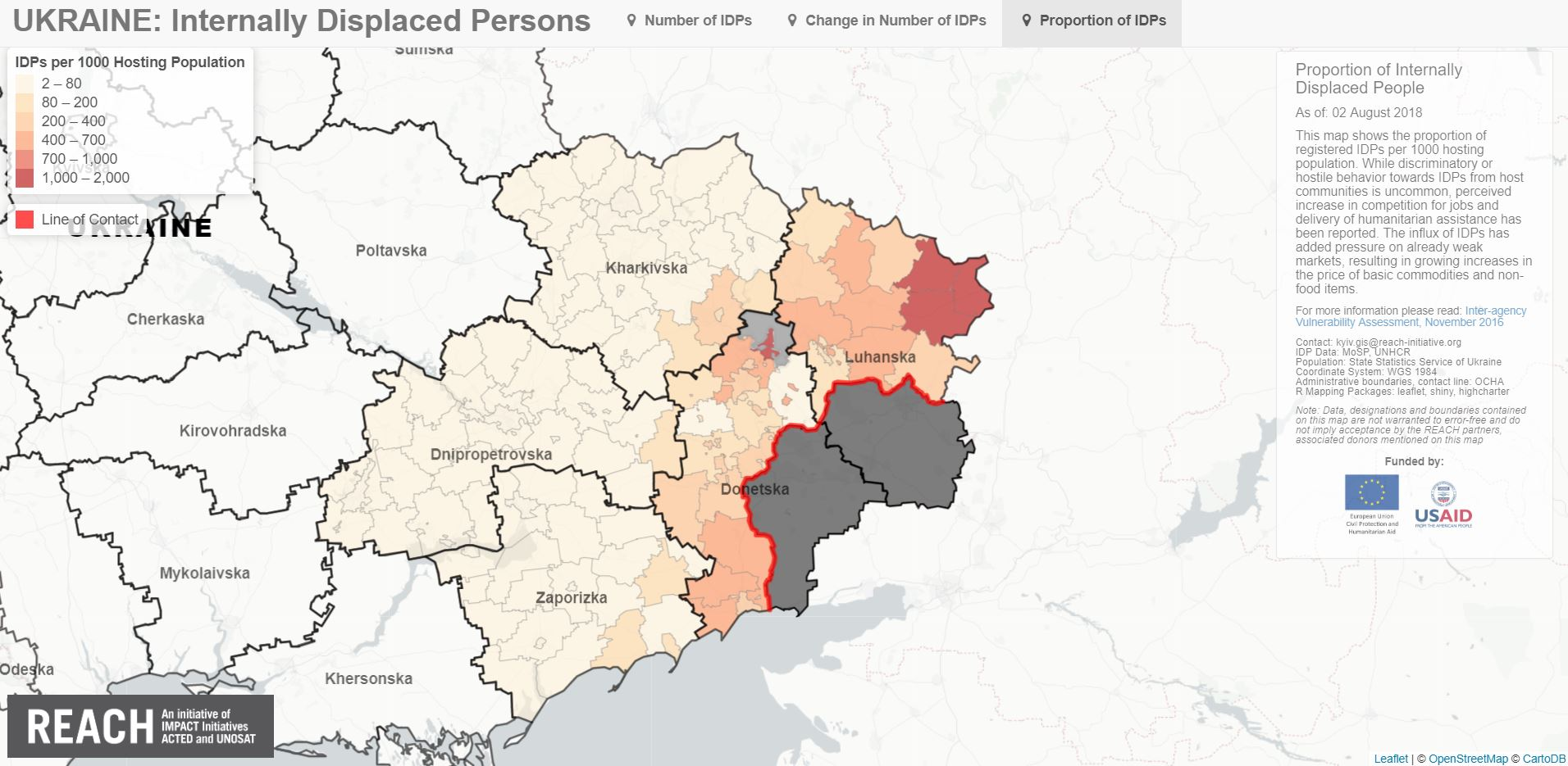 The interactive IDP map on Eastern Ukraine visualizes the proportion of IDPs in regard to host communities - among other things.