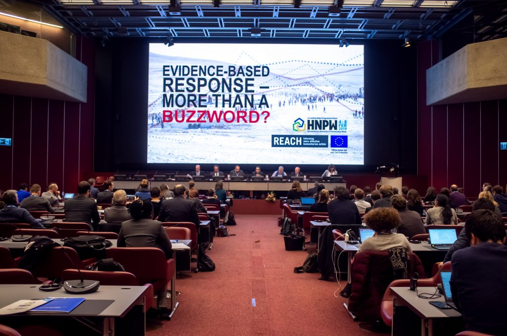 """Evidence-based response – More than a buzzword?"" panel discussion brought five high-level decision-makers to discuss the implementation of the Grand Bargain commitment for joint and impartian needs assessments. ©UNOCHA / Office for the Coordination of Humanitarian Affairs"